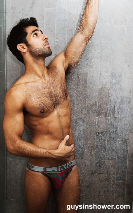 brazilian hairy guy in shower